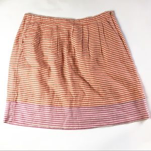 LOFT Striped A-Line Pleated Skirt